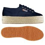 scarpa superga con zeppa e corda navy